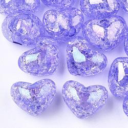 Perles en acrylique transparentes craquelées, demi-percés perles, cœur, Mediumpurple, 14.5x18x13mm, demi-trou: 3.5 mm(TACR-S148-04D)