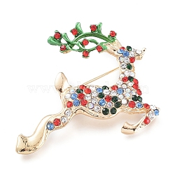 Golden Plated Alloy Brooches, with Rhinestone and Enamel, Christmas Reindeer/Stag, for Christmas, Colorful, 41.5x46x8.5mm; Pin: 0.8mm