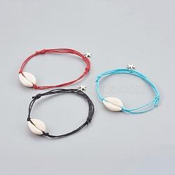 Bracelet de cheville ajustable, avec breloques étoiles de mer / étoiles de mer en alliage de style tibétain et cordon en coton ciré chinois, couleur mélangée, 6-1 / 4 (16 cm) ~ 11-3 / 8 (29 cm)(AJEW-AN00242)