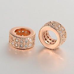 micro cuivres ouvrent zircone cubique perles de gros anneau de trou européen, or rose, 7.5~8x4 mm, trou: 5 mm(ZIRC-J006-04RG)