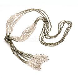 """Billes de verre colliers de lasso, avec des perles de rocaille, colorées, 44.8""""(NJEW-O059-04K)"""