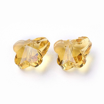 Transparent Glass Beads, Faceted, Butterfly, Gold, 6.5x8x5.5mm, Hole: 1mm(GLAA-P037-02B-19)