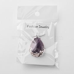valentine cadeaux idée pour gars pendentifs améthyste naturelles, avec pendentif conclusions de l'alliage, déposer, pourpre, améthyste, 38x26x8 mm, trou: 5x4 mm(X-G-Q689)