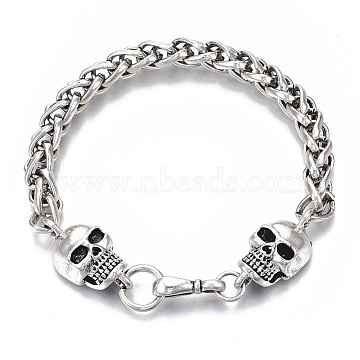 Men's Alloy Wheat Chain Bracelets, Skull, Antique Silver, 8-7/8inches(22.5cm)(X-BJEW-T014-05AS)