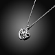 Mother's Day Gifts Silver Plated Brass Cubic Zirconia Heart with Mom Pendant Necklaces(NJEW-BB16173)-4