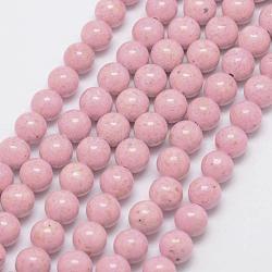 "Perles fossiles, teint, rond, rose, 8mm, trou: 0.8mm; environ 50 pcs/chapelet, 16""(G-SR8MM-FS03)"