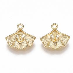pendentifs en laiton, pour perle à moitié percée, feuille, véritable plaqué or, 12x12x3 mm, trou: 1.2 mm; broches: 0.8 mm(KK-S350-127G)