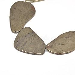 """Pépites de pyrite naturelles perles brins, 25~57x20~35x3mm, trou: 1 mm; environ 15.7""""(G-I125-93)"""