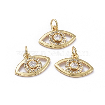 Brass Micro Pave Cubic Zirconia Pendants, with Jump Rings, Long-Lasting Plated, Eye, Clear, Golden, 12.5x18x2.5mm, Hole: 3.4mm(X-ZIRC-G163-28G)